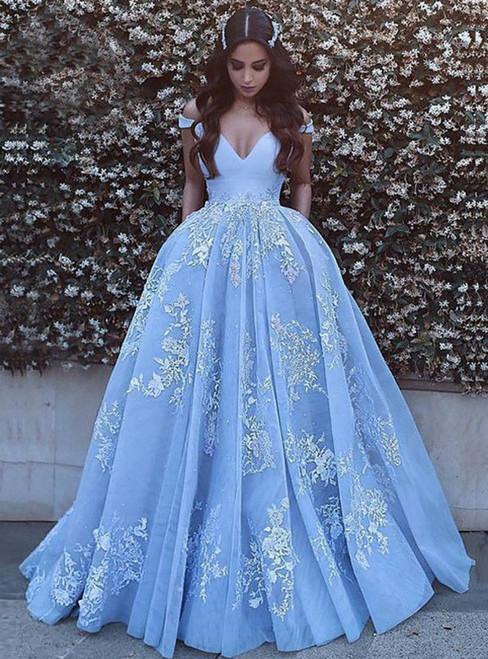 A-Line Blue Tulle Lace Appliques Off the Shoulder Prom Dress