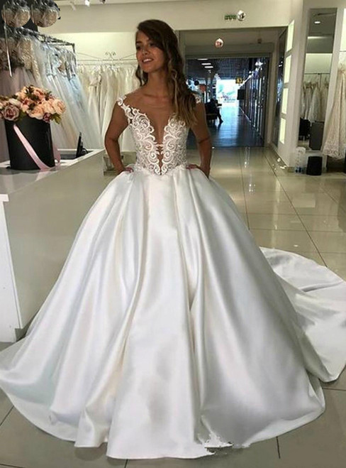 White Ball Gown Satin Lace Appliques Wedding Dress With Pocket