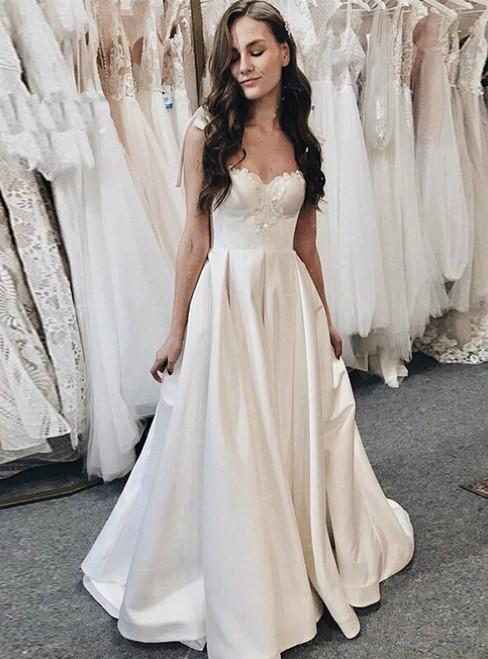 A-Line Ivory Satin Straps Beading Long Wedding Dress