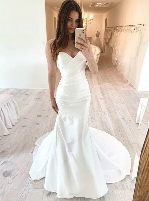 White Mermaid Satin Sweetheart Pleats Long Wedding Dress 2020