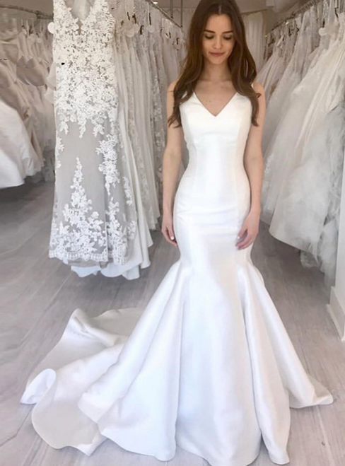 Simple White Mermaid Satin V-neck Wedding Dress 2020