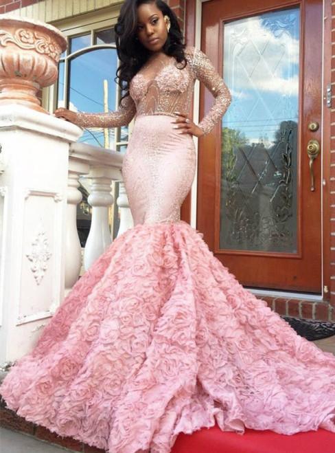 Long Sleeves Beaded Mermaid Prom Dress with Petal Skirt