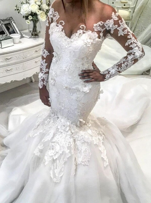 White Mermaid Tulle Long Sleeve V-neck 3D Flower Wedding Dress
