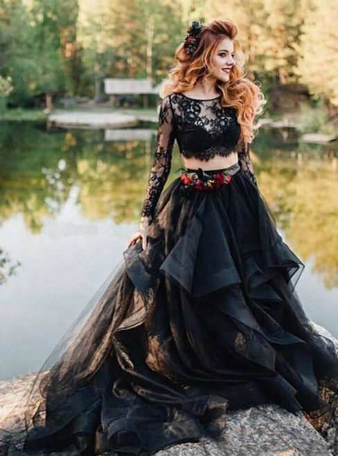 A-Line Black Tulle Lace Two Piece Long Sleeve Wedding Dress 2020