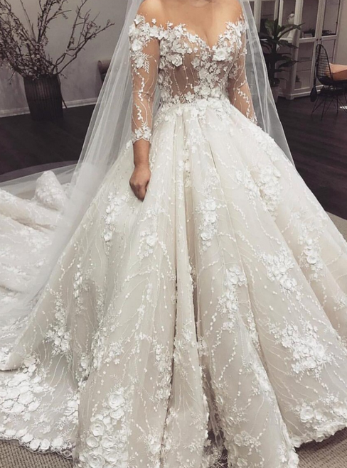 Ivory Ball Gown Tulle Appliques Long Sleeve Wedding Dress 2020