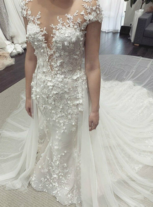 White Mermaid Tulle Appliques Cap Sleeve Wedding Dress With Removable Train 2020