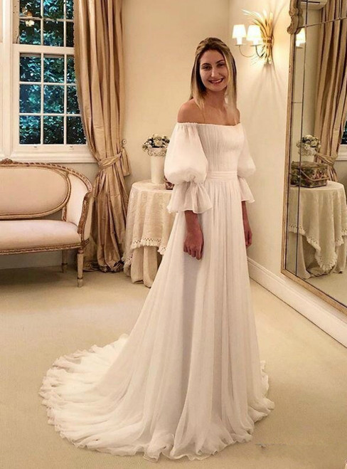 A-Line White Chiffon Off the Shoulder Puff Sleeve Wedding Dress