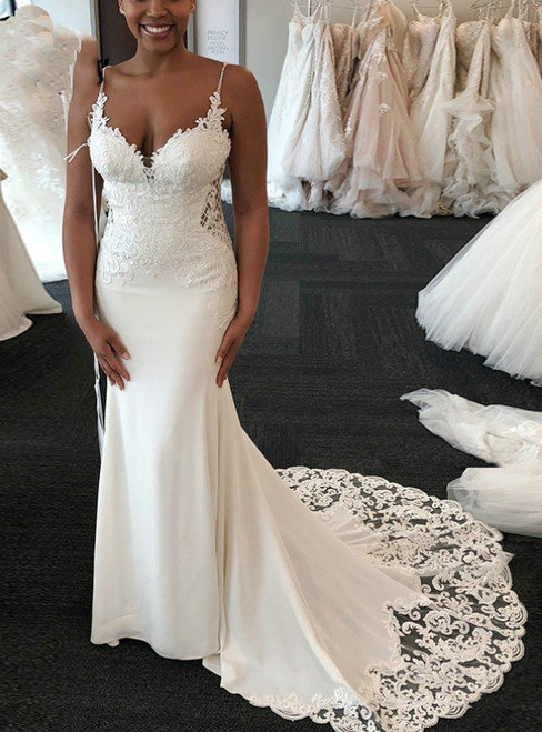 Sexy White Memraid Satin Lace Appliques Spaghetti Straps Wedding Dress 2020