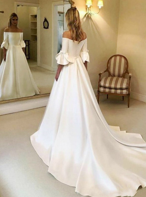 A-Line White Satin Off the Shoulder Short Sleeve Wedding Dress