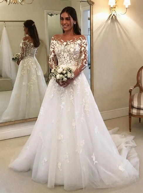 A-Line White Tulle Appliques Long Sleeve Wedding Dress 2020