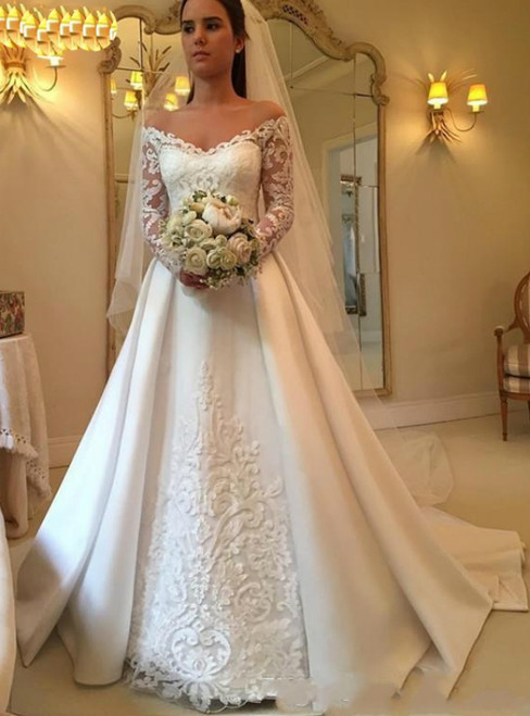 A-Line White Satin Off the Shoulder Long Sleeve Appliques Wedding Dress 2020