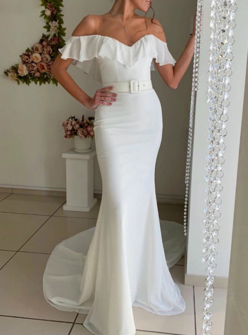 White Mermaid Chiffon See Through Neck Wedding Dress With Sash 2020