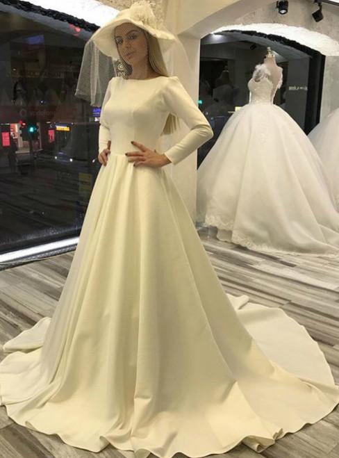 White Satin Long Sleeve Bateau Button Back Sweep Train Wedding Dress
