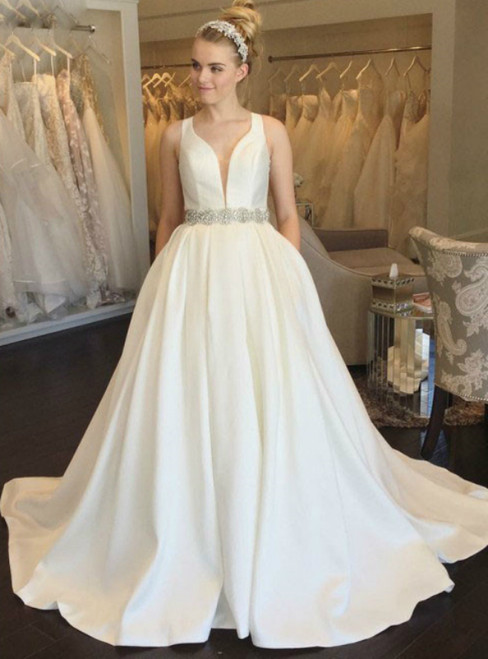 White Satin Deep V-neck Backless Beading Wedding Dress 2020