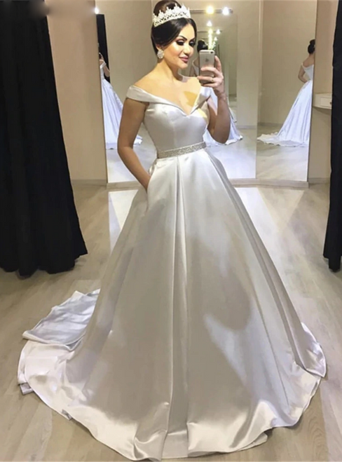 White Ball Gown Satin Off the Shoulder Wedding Dress With Pocket