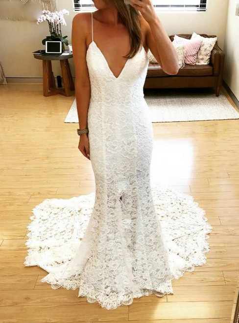 White Mermaid Lace Spagehtti Straps Backless Wedding Dress