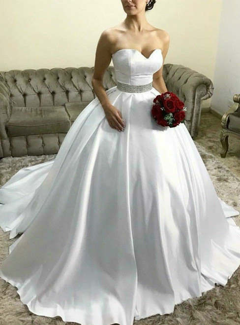 White Ball Gown Satin Sweetheart Crystal Wedding Dress With Train