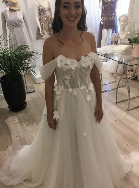 Beach Tulle Off the Shoulder 3D Flowers Wedding Dress 2020