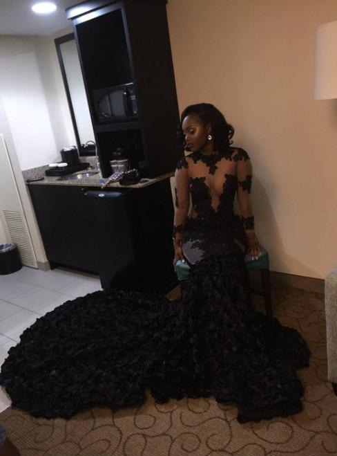 Long Sleeve Black Mermaid Prom Dress with Illusion Bodice