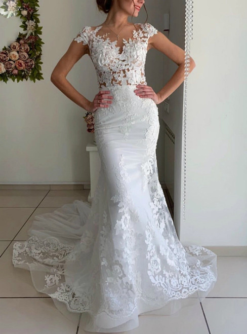 White Mermaid Tulle Lace Appliques Cap Sleeve Wedding Dress 2020