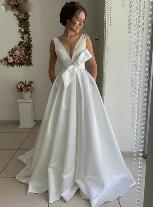 A-Line White Satin V-neck Backless Wedding Dress With Bow