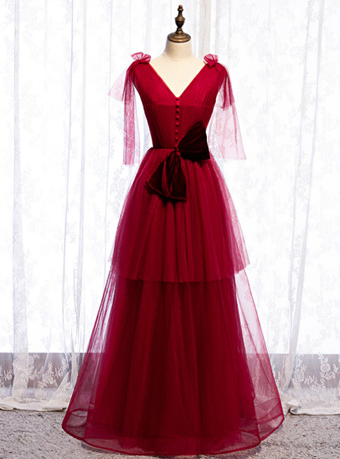 Burgundy Tulle V-neck Pleats Long Prom Dress With Bow 2020