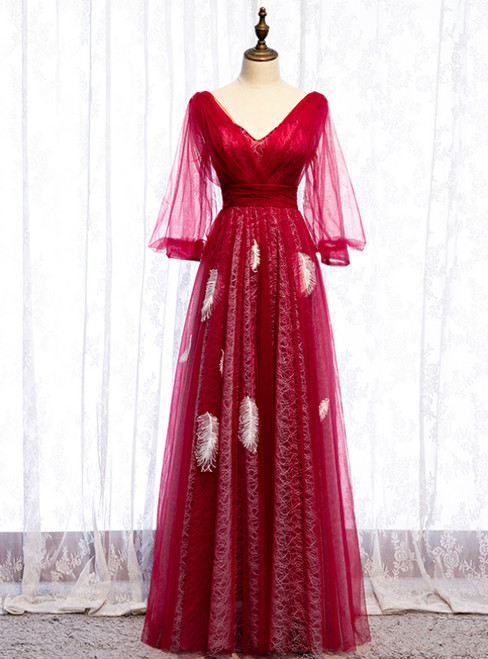 A-Line Red Tulle V-neck Long Sleeve Backless Prom Dress 2020