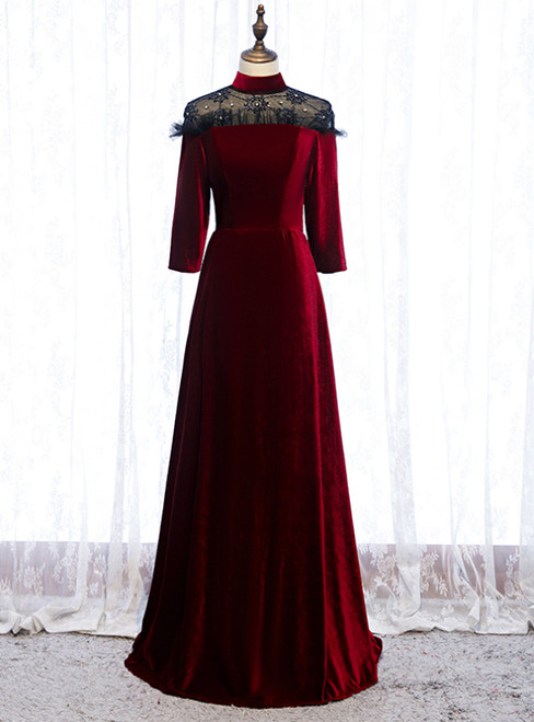 A-Line Dark Burgundy Velvet High Neck Short Sleeve Prom Dress