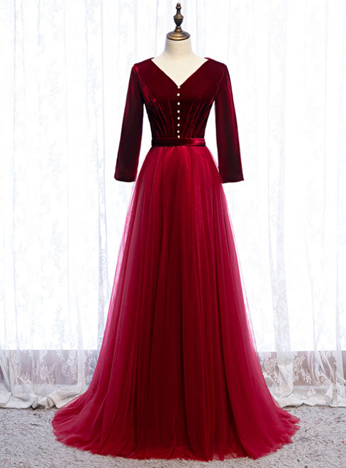 Burgundy Tulle Velvet V-neck 3/4 Sleeve Prom Dress 2020