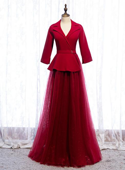 A-Line Burgundy Tulle 3/4 Sleeve V-neck Prom Dress