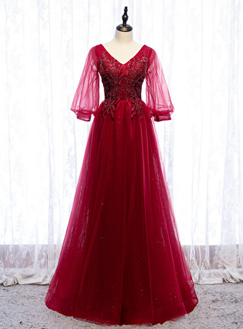 Burgundy Tulle V-neck Puff Sleeve Beading Prom Dress 2020