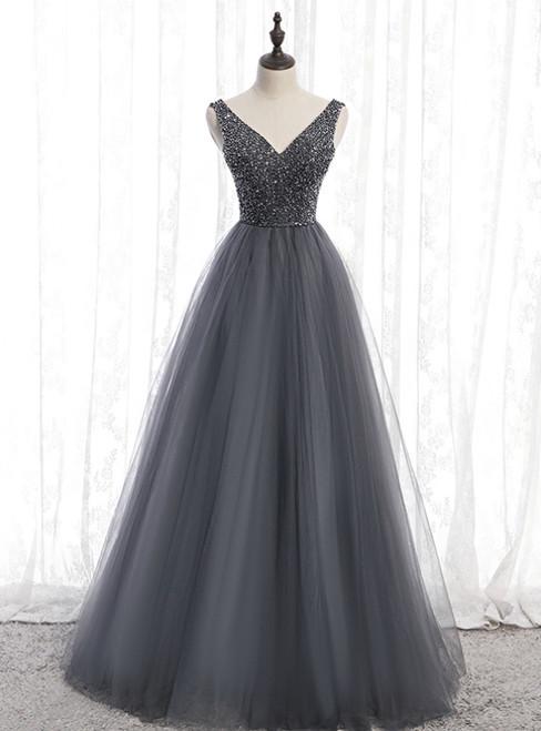 A-Line Gray Tulle V-neck Backless Beading Prom Dress 2020