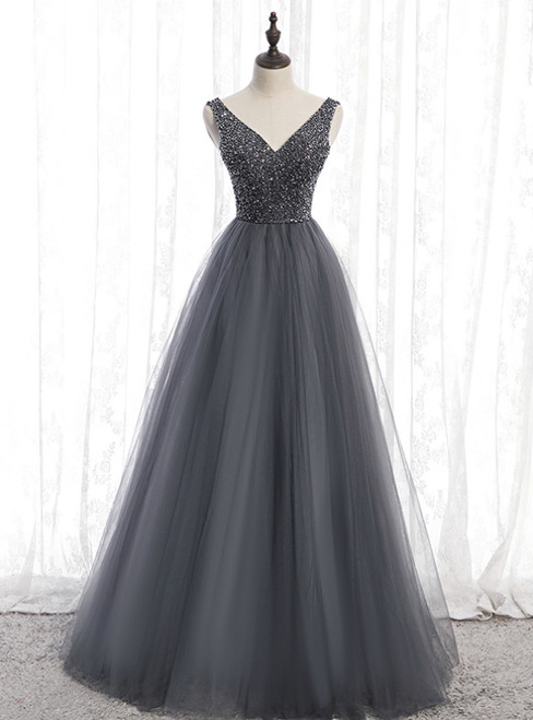 A-Line Gray Tulle V-neck Backless Beading Prom Dress 2020
