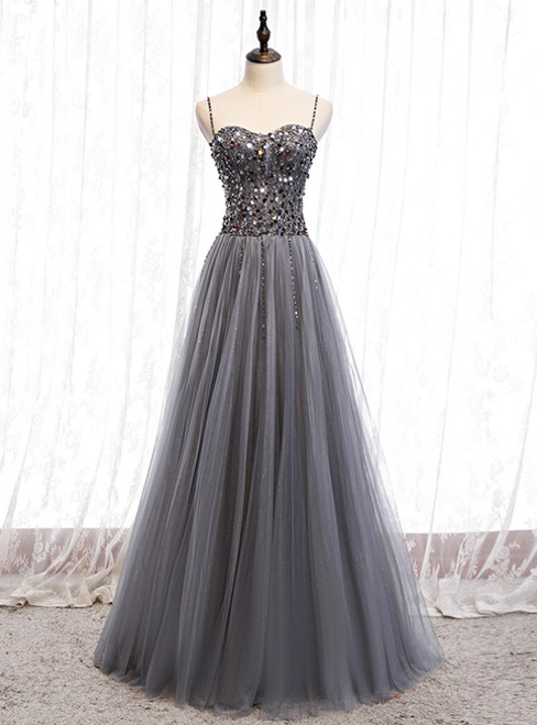 A-Line Gray Tulle Spagehtti Straps Sequins Prom Dress