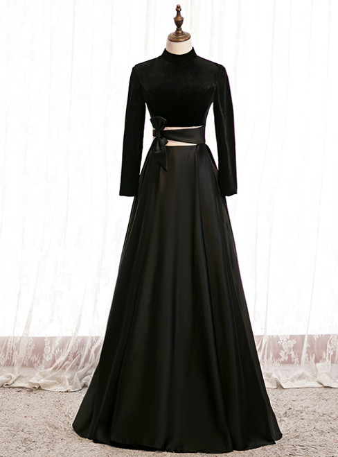 A-Line Black Satin High Neck Long Sleeve Prom Dress 2020