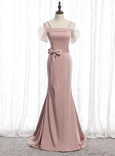 Pink Mermaid Satin Spagehtti Straps Prom Dress With Sash 2020