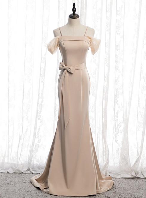 Champagne Mermaid Satin Spagehtti Straps Prom Dress With Sash 2020