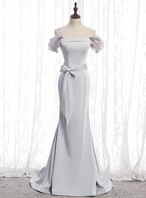 Silver Gray Mermaid Satin Spagehtti Straps Prom Dress With Sash  2020
