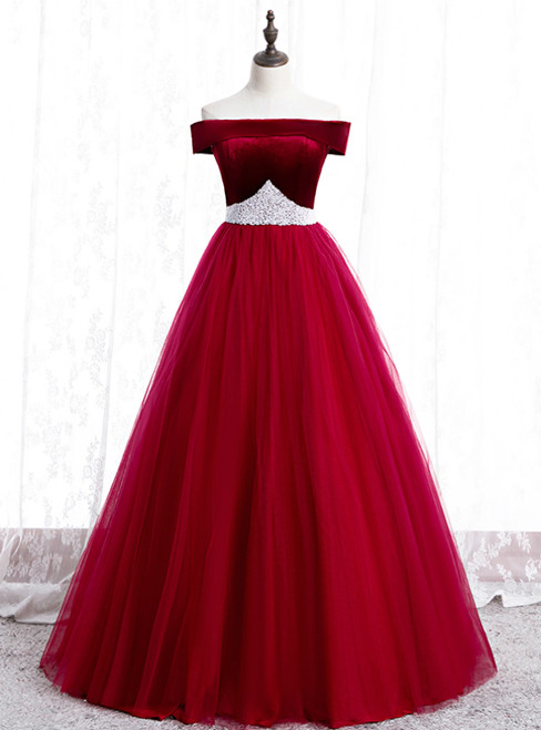 Burgundy Tulle Off the Shoulder Prom Dress With Pearls 2020