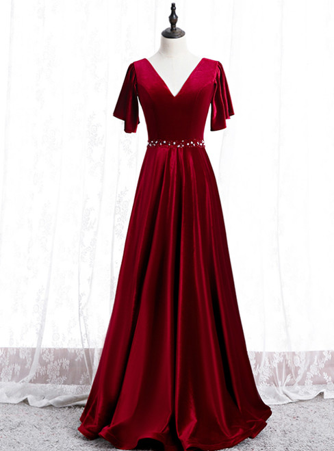 A-Line Burgundy Velvet V-neck Beading Sequins Prom Dress
