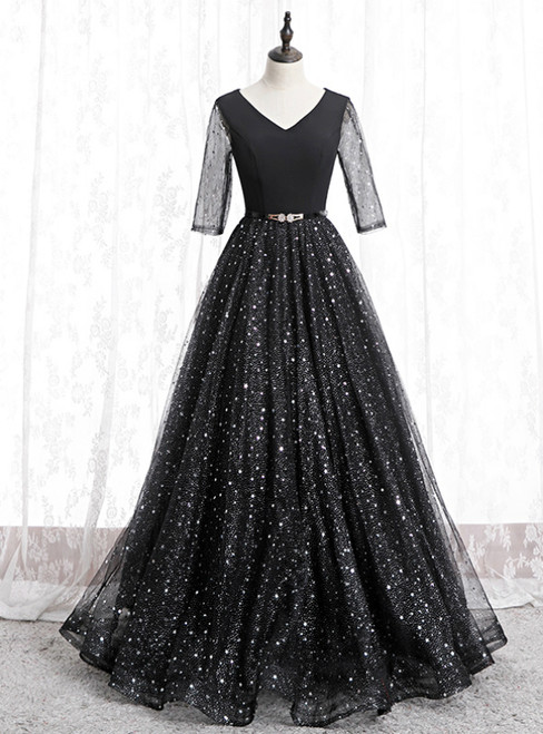 A-Line Black Tulle Sequins V-neck Short Sleeve Prom Dress 2020