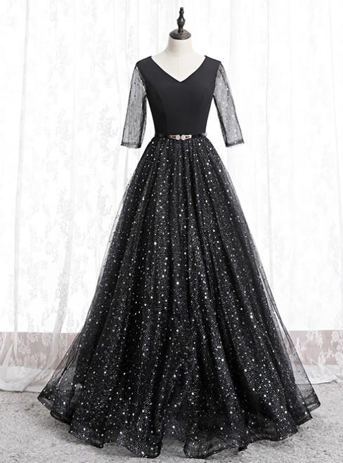 A-Line Black Tulle Sequins V-neck Short Sleeve Prom Dress 2020