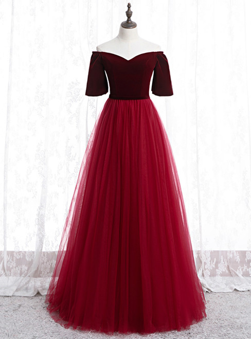 Burgundy Tulle Velvet Off the Shoulder Short Sleeve Prom Dress 2020