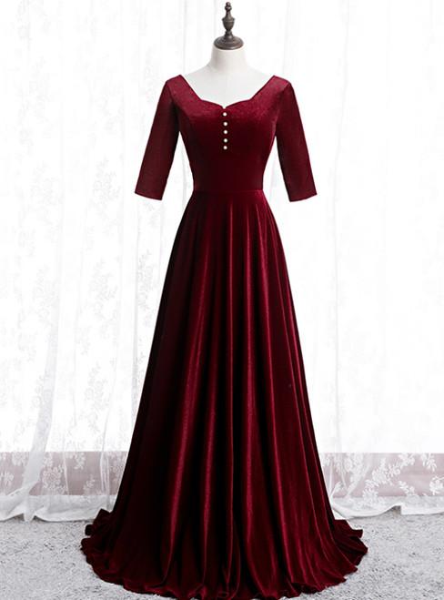 Dark Burgundy Velvet Short Sleeve Prom Dress With Pearls 2020
