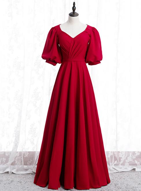 Burgundy Satin V-neck Puff Sleeve Pleats Prom Dress 2020