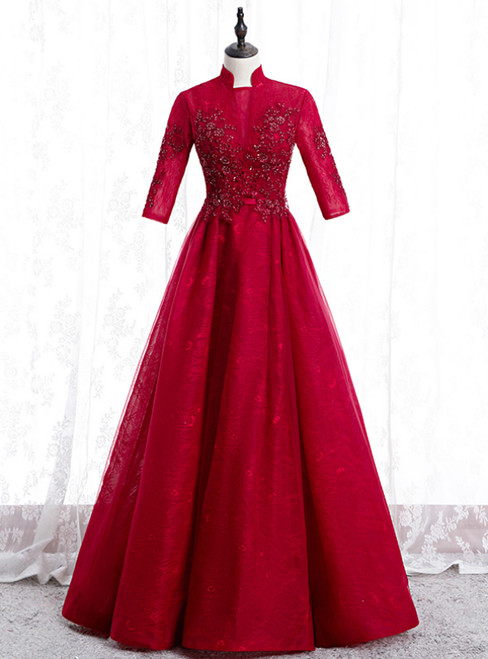 A-Line Burgundy Tulle Lace High Neck Short Sleeve Prom Dress 2020