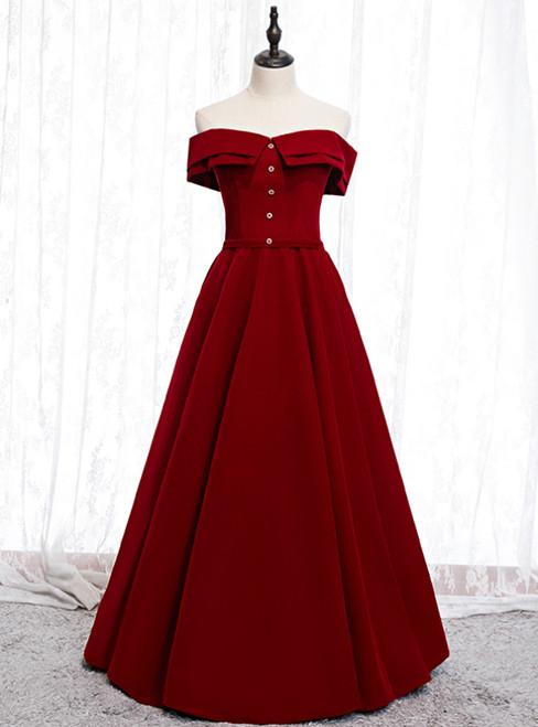 A-Line Burgundy Off the Shoulder Long Prom Dress 2020