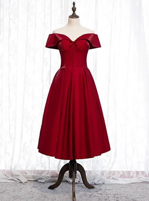 A-Line Burgundy Satin Off the Shoulder Short Tea Length Prom Dress