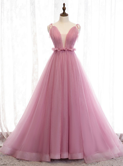 A-Line Pink Tulle Deep V-neck Backless Long Prom Dress