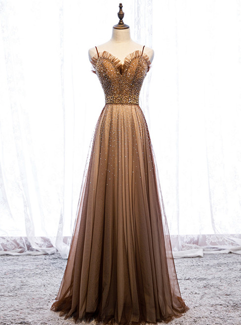 A-Line Brown Tulle Spagehtti Straps Beading Sequins Prom Dress 2020